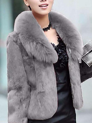 cheap Women's Fur & Faux Fur Coats-Women's Party / Work Street chic / Sophisticated Winter / Fall & Winter Plus Size Regular Faux Fur Coat, Solid Colored Shirt Collar Long Sleeve Faux Fur Black / Gray / Wine