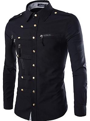 abordables Camisas de Hombre-Hombre Un Color Camisa Diario Wine / Negro / Verde Ejército / Azul Marino / Manga Larga