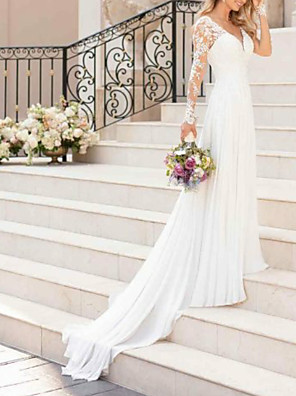 cheap Wedding Dresses-A-Line Wedding Dresses V Neck Sweep / Brush Train Chiffon Lace Long Sleeve Romantic Illusion Sleeve with Lace Insert 2020