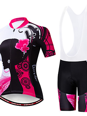 cheap Women's Cycling Jersey & Shorts / Pants Sets-EVERVOLVE Floral Botanical Women's Short Sleeve Cycling Jersey with Bib Shorts - White Black Bike Clothing Suit Anatomic Design Quick Dry Moisture Wicking Sports Summer Polyster Lycra Cotton Mountain