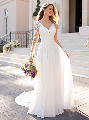 cheap Girls' Dresses-A-Line Wedding Dresses V Neck Chapel Train Chiffon Satin Long Sleeve Romantic Illusion Sleeve with Buttons Appliques 2020