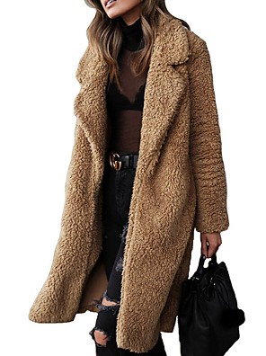 cheap Women's Coats & Trench Coats-Women's Daily Long Coat, Solid Colored Notch Lapel Long Sleeve Polyester Camel / Light Brown / Army Green