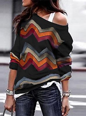 cheap Maxi Dresses-Women's Striped Long Sleeve Loose Pullover Sweater Jumper, Round Neck Fall / Winter Black / Wine / Purple S / M / L