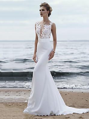 cheap Wedding Dresses-Mermaid / Trumpet Wedding Dresses Jewel Neck Chapel Train Chiffon Lace Regular Straps Mordern See-Through with Sashes / Ribbons Appliques 2020