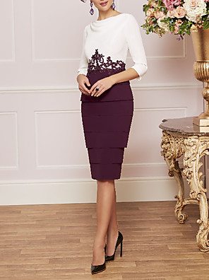 cheap Mother of the Bride Dresses-Two Piece Sheath / Column Mother of the Bride Dress Elegant Vintage Plus Size Jewel Neck Knee Length Satin 3/4 Length Sleeve with Appliques 2020