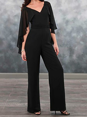 cheap Mother of the Bride Dresses-Pantsuit / Jumpsuit Mother of the Bride Dress Jumpsuits V Neck Floor Length Chiffon Short Sleeve with Ruffles Appliques 2020