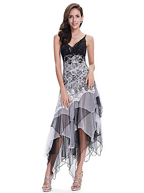 cheap Special Occasion Dresses-A-Line White Black Party Wear Cocktail Party Dress Spaghetti Strap Sleeveless Asymmetrical Chiffon Lace with Sequin Lace Insert 2020