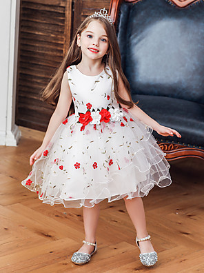 cheap Girls' Dresses-Kids Toddler Girls' Basic Cute Plants Floral Trees / Leaves Bow Patchwork Embroidered Sleeveless Knee-length Dress White