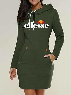 cheap Women's Dresses-Women's Mini Bodycon Dress - Long Sleeve Geometric Print Basic Street chic Wine Black Green Dark Gray Gray S M L XL XXL