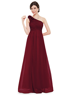 cheap Evening Dresses-A-Line Empire Red Wedding Guest Formal Evening Dress One Shoulder Sleeveless Floor Length Chiffon with Appliques 2020