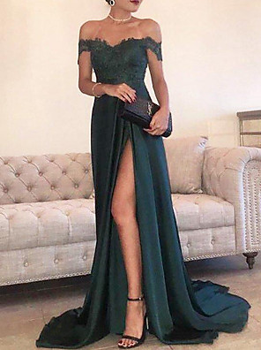 cheap Prom Dresses-Sheath / Column Empire Green Engagement Formal Evening Dress Off Shoulder Short Sleeve Court Train Chiffon Lace with Appliques Split Front 2020
