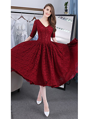cheap Cocktail Dresses-Back To School A-Line Cute Cocktail Party Dress V Neck Half Sleeve Tea Length Lace with Lace Insert 2020 Hoco Dress