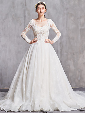 cheap Bridesmaid Dresses-A-Line Wedding Dresses Bateau Neck Chapel Train Tulle Long Sleeve Sexy Illusion Sleeve with Pearls Embroidery 2020