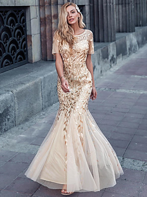 cheap Special Occasion Dresses-Mermaid / Trumpet Sparkle Gold Engagement Formal Evening Dress Illusion Neck Short Sleeve Floor Length Nylon Tulle Sequined with Sequin Appliques 2020