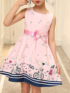 cheap Girls' Dresses-Kids Girls' Active Geometric Print Sleeveless Above Knee Dress Blushing Pink