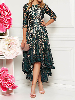 cheap Bridesmaid Dresses-Women's Asymmetrical A Line Dress - Half Sleeve Floral Solid Color Lace Spring & Summer All Seasons Elegant Cocktail Party Prom Birthday Slim 2020 Green M L XL XXL XXXL