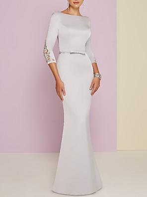 cheap Evening Dresses-Sheath / Column Mother of the Bride Dress Plus Size Bateau Neck Floor Length Satin 3/4 Length Sleeve with Bow(s) Beading 2020