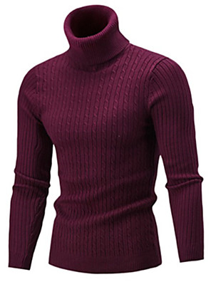 cheap Men's Sweaters & Cardigans-Men's Solid Colored Pullover Long Sleeve Slim Sweater Cardigans Turtleneck Fall Wine White Black