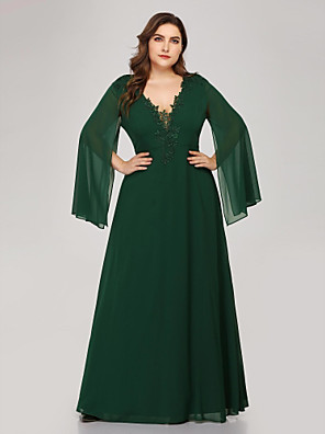 cheap Evening Dresses-A-Line Plus Size Green Wedding Guest Formal Evening Dress V Neck Long Sleeve Floor Length Chiffon Corded Lace with Appliques 2020