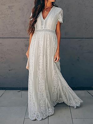 Χαμηλού Κόστους Μακριά Φορέματα-Γυναικεία Φόρεμα ριχτό από τη μέση και κάτω Μακρύ φόρεμα - Κοντομάνικο Βαθύ V Βασικό Δαντέλα Λευκό Τ M L XL