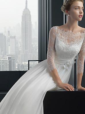 cheap Wedding Dresses-A-Line Wedding Dresses Bateau Neck Sweep / Brush Train Chiffon Lace 3/4 Length Sleeve Sexy Plus Size with Lace 2020