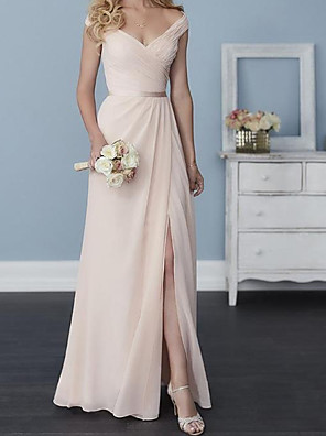 cheap Bridesmaid Dresses-A-Line Off Shoulder Floor Length Chiffon Bridesmaid Dress with Sash / Ribbon / Pleats / Split Front