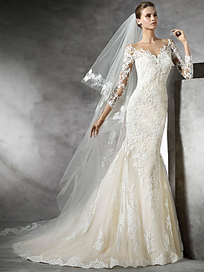 cheap Wedding Dresses-Mermaid / Trumpet Wedding Dresses V Neck Sweep / Brush Train Lace 3/4 Length Sleeve Sexy Illusion Sleeve with Lace Insert 2020