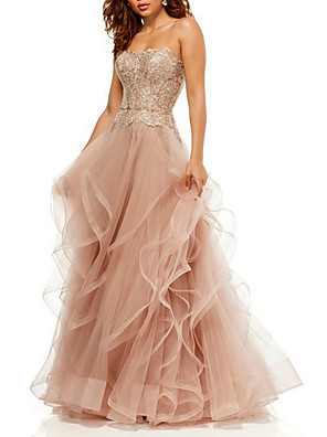 cheap Prom Dresses-A-Line Luxurious Pink Prom Formal Evening Dress Sweetheart Neckline Sleeveless Floor Length Tulle with Sequin Ruffles Tier 2020