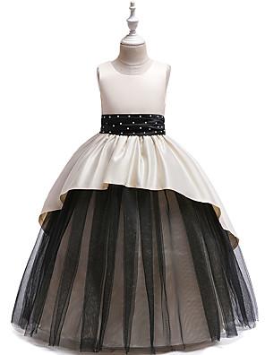 お買い得  女児 ドレス-子供 女の子 かわいいスタイル パッチワーク リボン フリル メッシュ ノースリーブ マキシ ドレス ホワイト