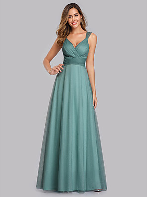 cheap Evening Dresses-A-Line Elegant Empire Prom Formal Evening Dress V Neck Sleeveless Floor Length Chiffon Tulle with Pleats Sequin 2020