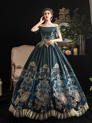 cheap Wedding Slips-Maria Antonietta Rococo Baroque Victorian Dress Party Costume Women's Lace Satin Costume Dark Green Vintage Cosplay Party Halloween Party & Evening Floor Length Ball Gown Plus Size