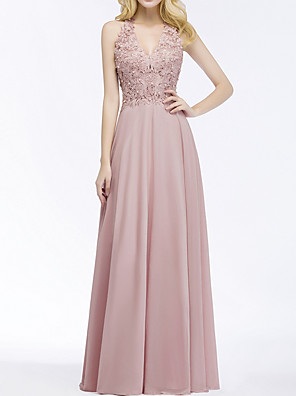 cheap Prom Dresses-A-Line Plunging Neck Floor Length Chiffon Bridesmaid Dress with Beading / Appliques