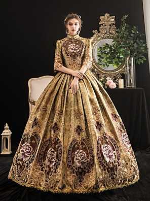 cheap Evening Dresses-Maria Antonietta Rococo Baroque Victorian Dress Women's Lace Satin Costume Coffee Vintage Cosplay Party Halloween Party & Evening Floor Length Ball Gown Plus Size