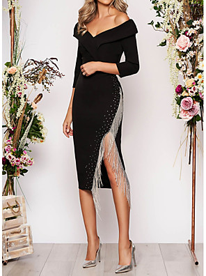cheap Cocktail Dresses-Sheath / Column Elegant Black Wedding Guest Cocktail Party Dress Off Shoulder 3/4 Length Sleeve Asymmetrical Polyester with Tassel Split 2020