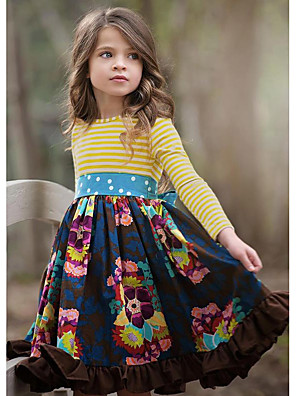 cheap Girls' Dresses-Kids Girls' Cute Floral Long Sleeve Knee-length Dress Navy Blue / Cotton
