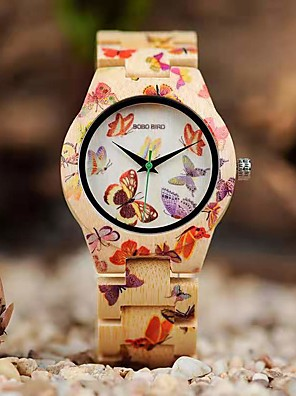 cheap Quartz Watches-Women's Quartz Watches Japanese Quartz Butterly Style Stylish Fashion Casual Watch Wood Beige Analog - Wood Two Years Battery Life