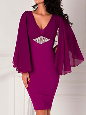 cheap Evening Dresses-Sheath / Column Beautiful Back Holiday Cocktail Party Dress Plunging Neck Long Sleeve Knee Length Chiffon with Beading 2020