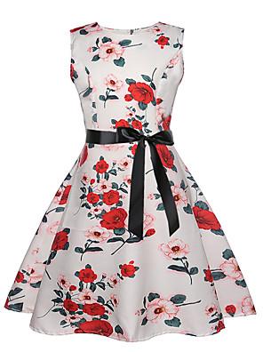 cheap Girls' Dresses-Kids Girls' Active Sweet Floral Sleeveless Knee-length Dress White
