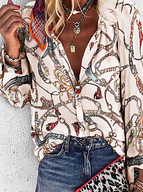 povoljno Majica-Žene Veći konfekcijski brojevi Geometrijski oblici Širok kroj Majica Dnevno V izrez Plava / purpurna boja / Red / Bijela / žuta / Bež