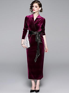 cheap Women's Dresses-Women's Maxi Bodycon Dress - Long Sleeve Solid Colored Lace up V Neck Elegant Event / Party Velvet Black Purple S M L XL XXL