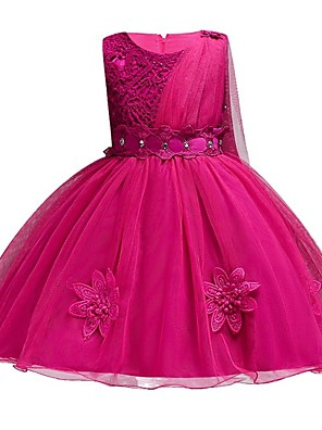 cheap Flower Girl Dresses-Princess Knee Length Wedding / Party / Pageant Flower Girl Dresses - Polyester / Polyester / Cotton / Tulle Sleeveless Jewel Neck with Lace / Sash / Ribbon / Appliques