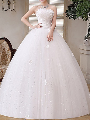 cheap Wedding Dresses-A-Line Wedding Dresses Strapless Floor Length Tulle Strapless Glamorous Illusion Detail with Crystals Appliques 2020