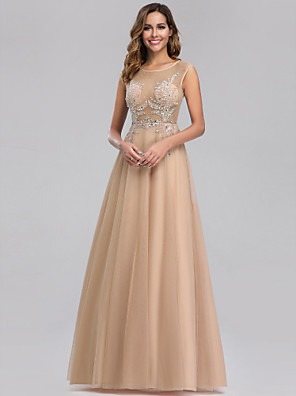 cheap Prom Dresses-A-Line Elegant Formal Evening Dress Jewel Neck Sleeveless Floor Length Lace Tulle with Beading 2020