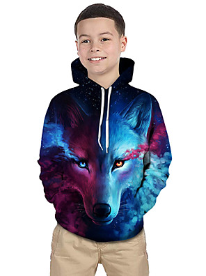 cheap Boys' Tops-Kids Toddler Boys' Active Basic Wolf Geometric Color Block 3D Print Long Sleeve Hoodie & Sweatshirt Blue