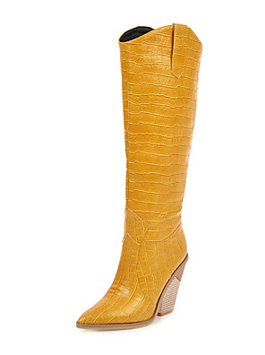 cheap Cocktail Dresses-Women's Boots Knee High Boots Sculptural Heel Pointed Toe PU Knee High Boots Fall & Winter Black / White / Yellow