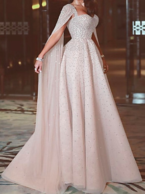 cheap Evening Dresses-A-Line Elegant Formal Evening Dress Sweetheart Neckline Sleeveless Sweep / Brush Train Chiffon with Beading 2020