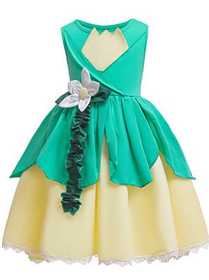 cheap Girls' Dresses-Kids Girls' Basic Cute Floral Halloween Ruffle Ruched Sleeveless Knee-length Dress Light Green