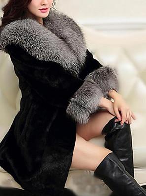 abordables Abrigos de pieles y de piel sintético de mujer-Mujer Diario Básico Otoño invierno Regular Abrigo de Piel, Un Color Solapa Redonda Manga Larga Poliéster Negro / Blanco