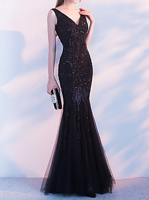 cheap Evening Dresses-Mermaid / Trumpet Sparkle Black Party Wear Formal Evening Dress V Neck Sleeveless Floor Length Polyester with Beading Sequin 2020