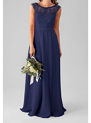 cheap Bridesmaid Dresses-A-Line Jewel Neck Floor Length Chiffon / Lace Bridesmaid Dress with Pleats / Appliques